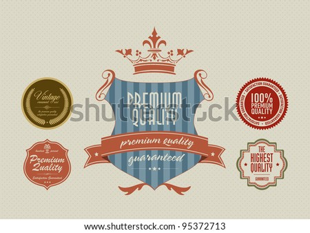 Vintage styled label stickers - stock vector