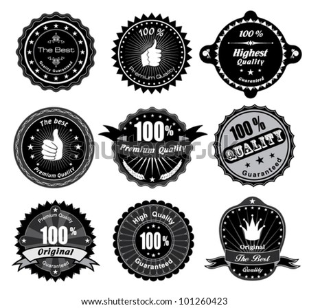Vintage Styled Premium Quality and Satisfaction Guarantee Label. Black and white design.
