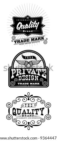 Vintage Styled Premium Quality label banner collection set - stock vector