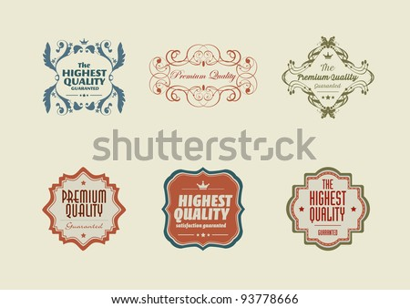 Vintage styled retro stickers with ornaments - stock vector