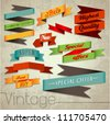Vintage Styled Ribbons Vector Collection. Graphic Design Editable For Your Design. - stock vector