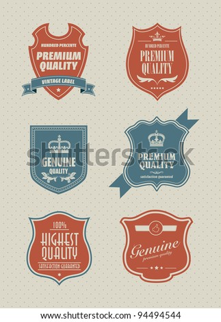 vintage styled shield sticker - stock vector