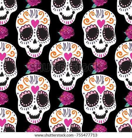 Vintage Sugar Skull Peony Embroidery Seamless Stock Vector 755477713