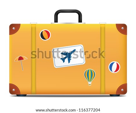 Vintage suitcase with funky stickers. Vector illustration - stock vector