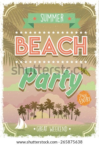 Vintage Summer Beach Party poster. Vector background. Free Entry - stock vector