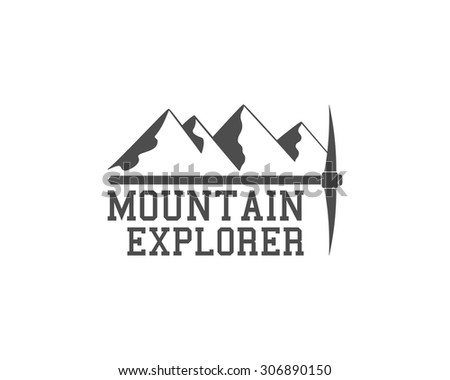 Vintage summer camp badge outdoors logo, emblem and label. Mountain Explorer concept, monochrome design. Best for travel sites, web app, adventure magazines. Easy to change color. Vector illustration - stock vector