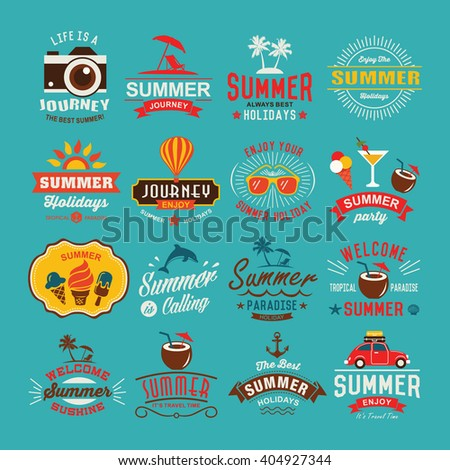 Vintage summer design and typography design with labels, posters, icons element set. - stock vector