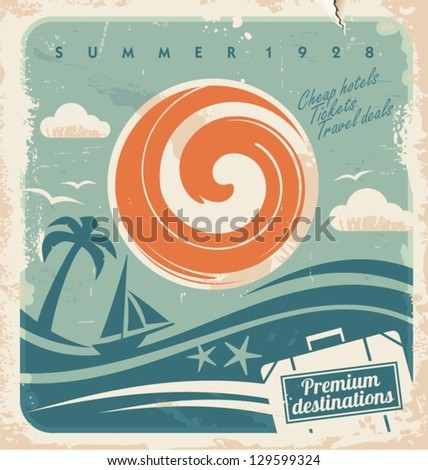 Vintage summer holiday poster. Vector template for travel agency. Retro hotel advertising background with old paper pattern. - stock vector