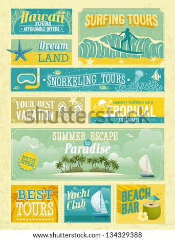 Vintage summer holidays and beach advertisements. - stock vector