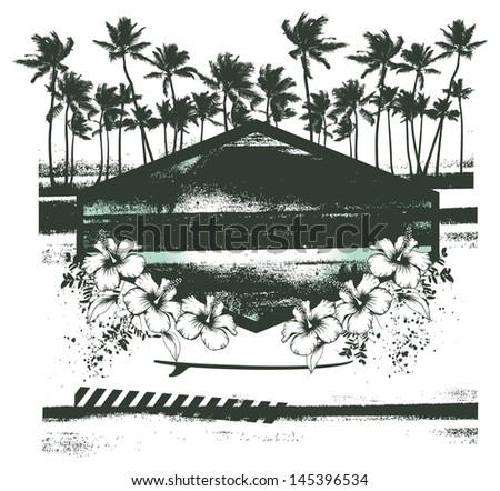 vintage summer scene with shield and hibiscus - stock vector