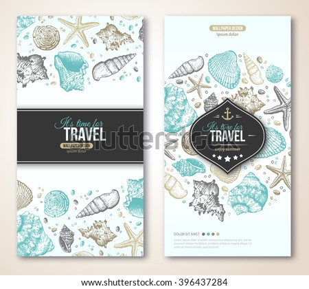 Vintage Summer Sea Shells Banner Design. Vector Background with Seashells, Seastar and Sand. Hand Drawn Etching Style. Place for Your Text. Travel Flyer Template. Emblem with Anchor. - stock vector