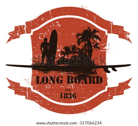 vintage summer shield with long board rider and beach - stock vector