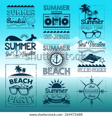Vintage summer typography design with labels, icons elements - stock vector