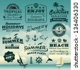 Vintage summer typography design with labels, icons elements collection - stock