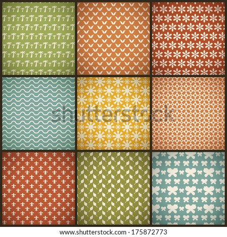 Vintage summer vector seamless patterns (with swath, tiling). Retro red, blue, green, yellow shabby colors. Endless texture can be used for printing onto fabric, paper, scrap booking. Abstract shape.
