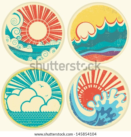 vintage sun and sea waves. Vector icons of  illustration of seascape - stock vector