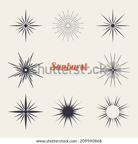 Vintage sunburst design elements collection with geometric shape, light ray - stock vector