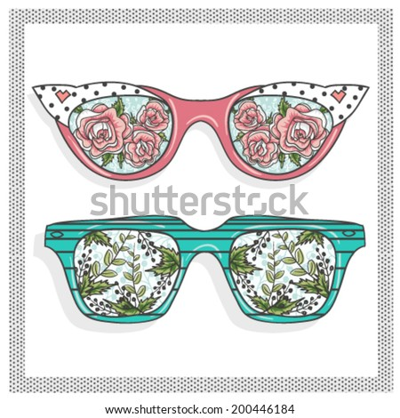 Vintage sunglasses with cute floral print for him and her.  - stock vector
