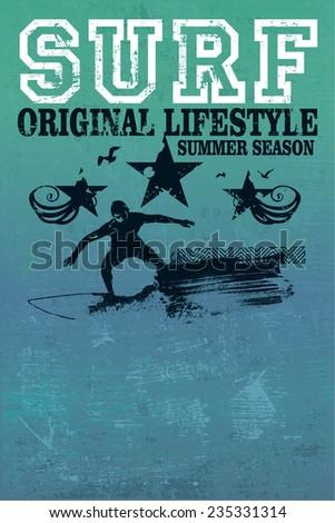 vintage surf grunge poster - stock vector