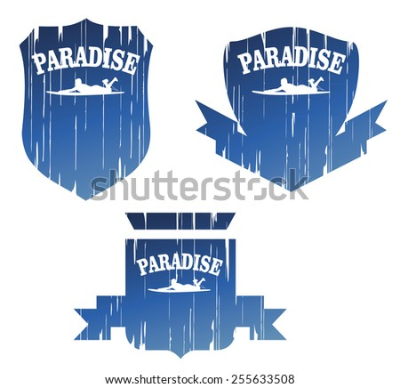 vintage surf paradise grunge shields - stock vector
