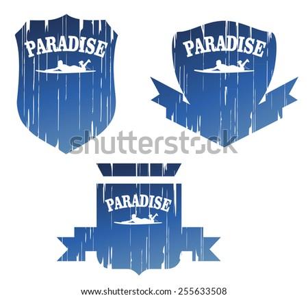 vintage surf paradise grunge shields - stock vector