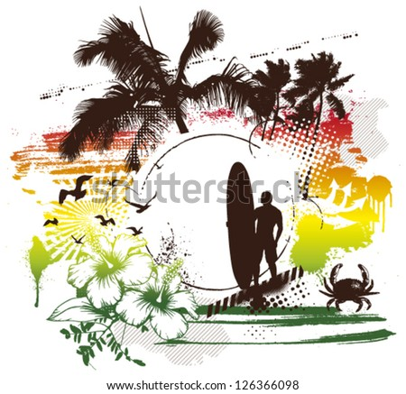 vintage surf scene with rider and summer spirit - stock vector