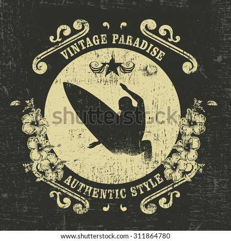 vintage surf shield with hibiscus - stock vector