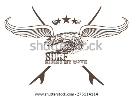 vintage surf shield with wings wave and copy space - stock vector