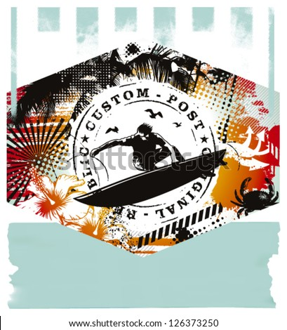 vintage surf summer scene with rider - stock vector