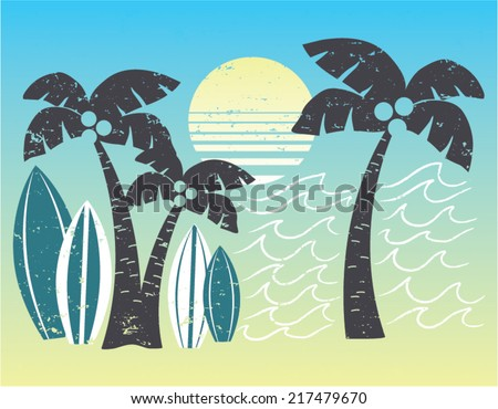 Vintage Surf Sunset Artwork - stock vector