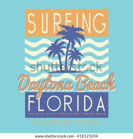 Vintage surf typography, t-shirt graphics, vectors - stock vector
