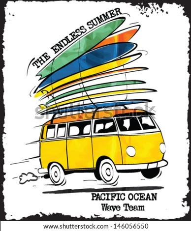 vintage surfer bus sketch - stock vector