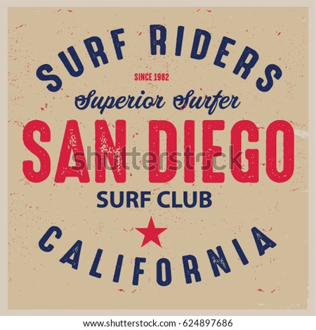 Vintage Surfing Graphics And Emblem With Grunge Background