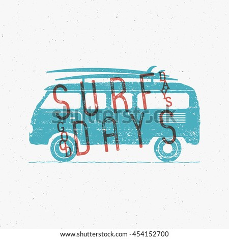 Vintage Surfing Graphics And Poster For Web Design Or Print Surfer Banner With Van