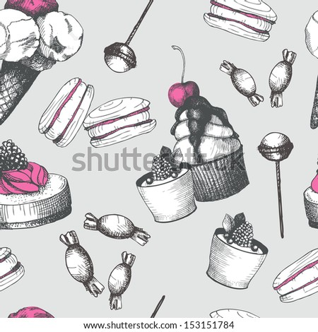 Vintage sweet cake and candies background. Seamless Hand drawn pattern.