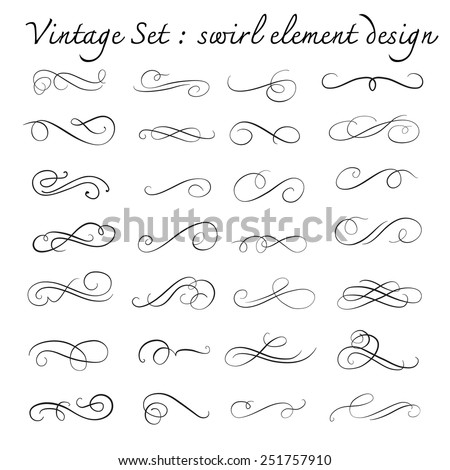 vintage swirl design element set, page decoration, vector illustration - stock vector