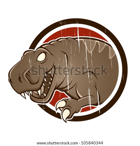 vintage t-rex in a badge - stock vector