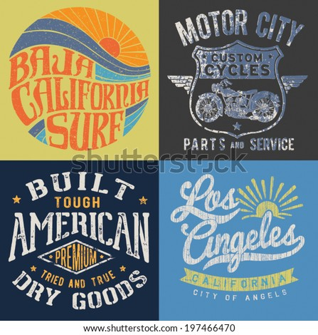 Vintage T-shirt Graphic Set 1 - stock vector