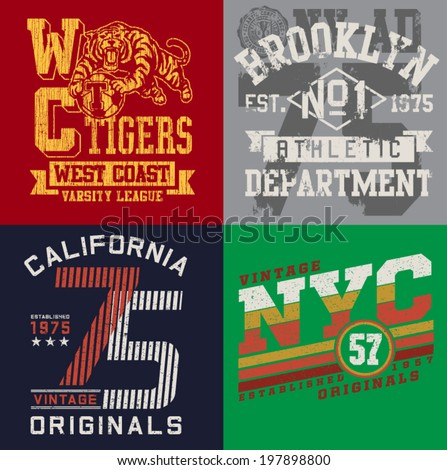 Vintage T-shirt Graphic Set - stock vector