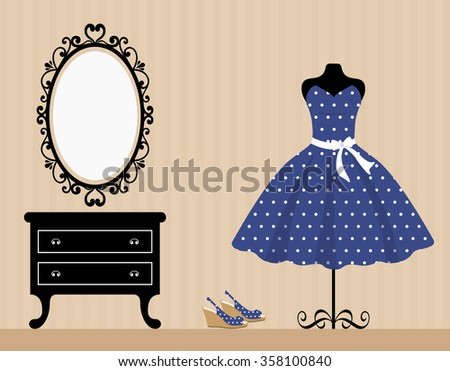 vintage table mannequin and blue dress - stock vector