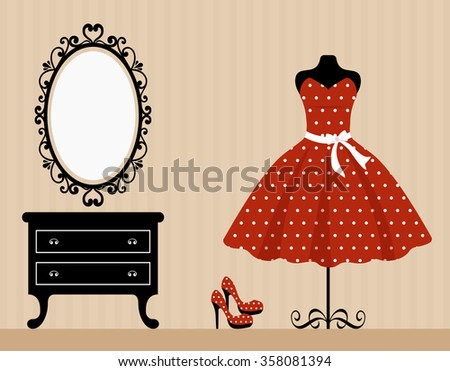 vintage table mannequin and retro red dress - stock vector