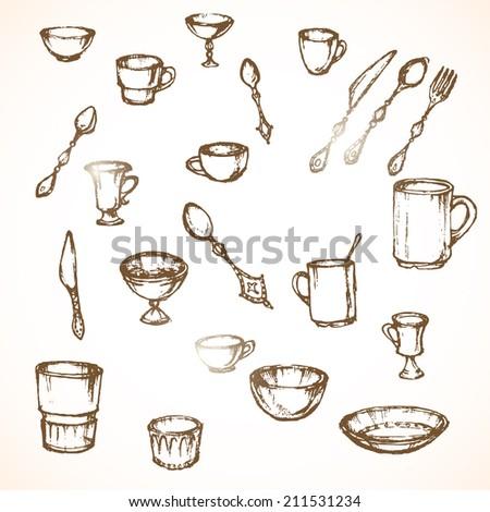 vintage tableware set - stock vector