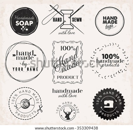 Vintage Tailor, Hand Sewn and Hand Made Design Elements - stock vector