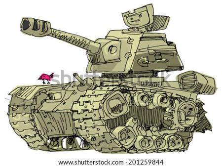 vintage tank - cartoon - stock vector
