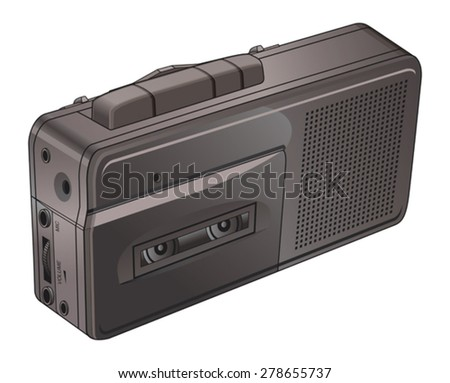Vintage Tape or Voice Recorder is an illustration of a small vintage tape or voice recorder used for dictation, notes and interviews.