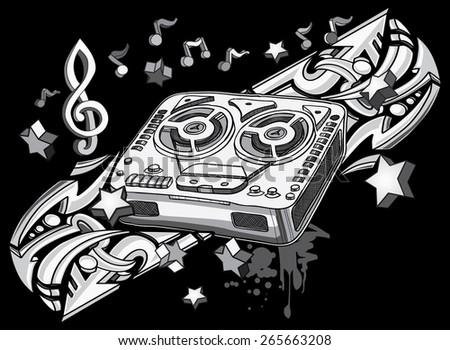 Vintage tape recorder on graffiti background - stock vector