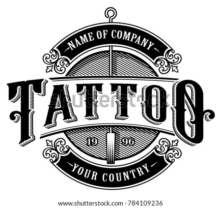 Vintage Tattoo Lettering Illustration Design Logo Template Shirt Graphic Text Is
