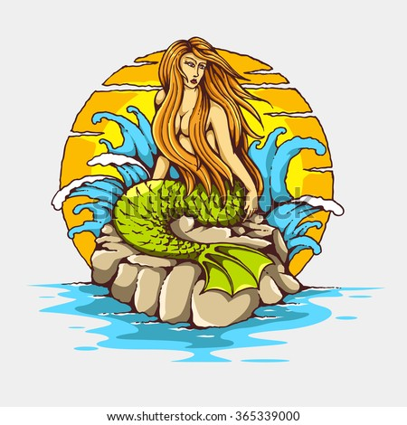 Vintage Tattoo Mermaid - Vector mermaid tattoo illustration with sunset background  - stock vector