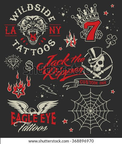 Vintage tattoo parlour graphic elements set - stock vector