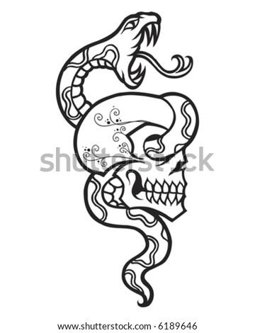 Vintage Tattoo Snake and Skull - stock vector
